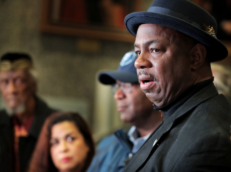 <strong>State Rep. Joe Towns Jr. (right) joins a group of local lawmakers in supporting a return to hand-marked paper ballots as the safest voting system during a press conference at the Vasco A. Smith Jr. Administration Building on Jan. 17, 2020.</strong> (Jim Weber/Daily Memphian)