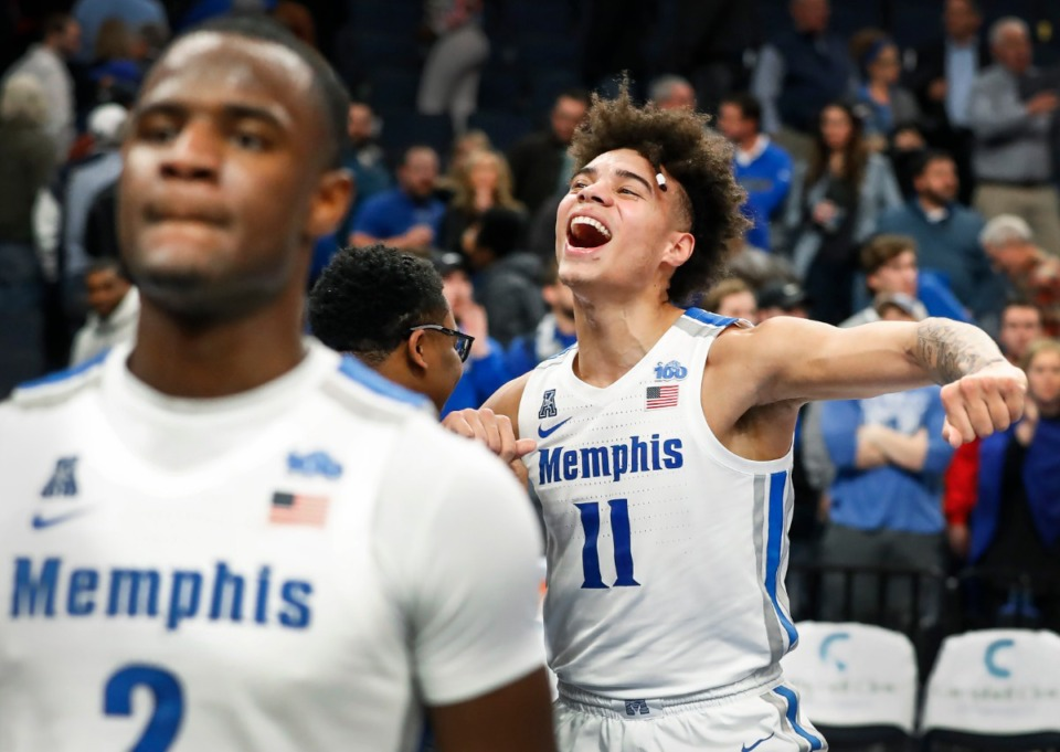 <strong>Memphis&rsquo; Lester Quinones celebrates after a 60-49 victory over Cincinnati on Jan. 16, 2020, at FedExForum. The Tigers will need more high-level wins down the stretch to enhance their NCAA seeding.</strong> (Mark Weber/Daily Memphian)