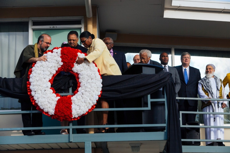<strong>The Rev. Jesse Jackson helps hang a memorial wreath at the National Civil Rights Museum in Downtown Memphis during events commemorating the 51st anniversary of the assassination of Dr. Martin Luther King Jr. on April 4, 2019.</strong> (Daily Memphian file photo)