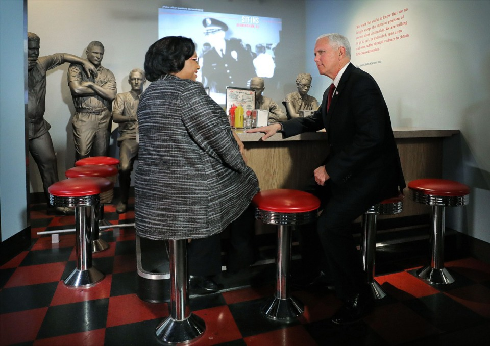 <strong>Vice President Mike Pence sits down with Noelle Trent during a trip to the National Civil Rights Museum in Memphis Jan. 19, 2020 to honor Dr. Martin Luther King Jr. </strong>(Patrick Lantrip/Daily Memphian)