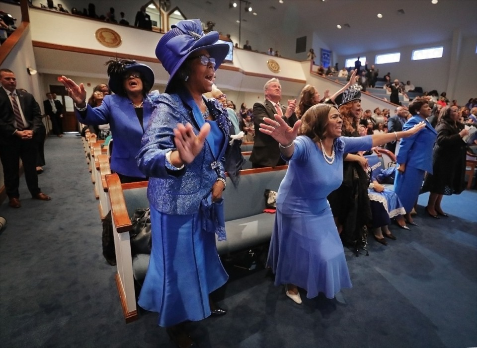 <strong>The congregation at Holy City Church of God in Christ engages in enthusiastic worship during the morning service on Sunday, Jan. 19, 2020.&nbsp;</strong>(Patrick Lantrip/Daily Memphian)