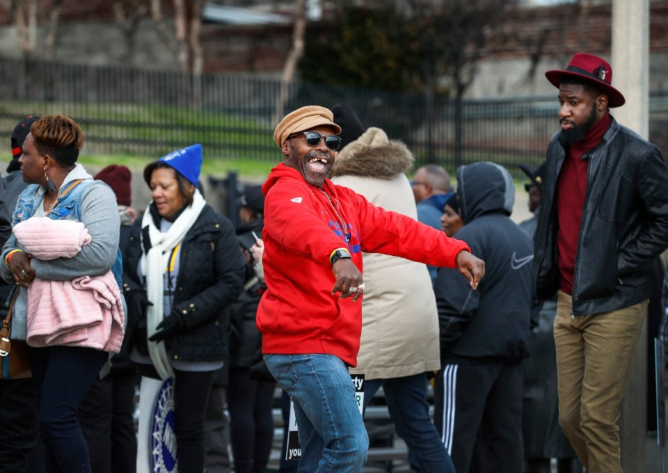 <strong>Donald Boyd dances outside the National Civil Rights Museum during the Dr. Martin Luther King Jr. Birthday Celebration Monday, Jan. 20.</strong> (Mark Weber/Daily Memphian)
