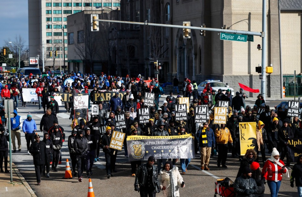 Hundreds make their way towards the National Civil Rights Museum during the 35th Annual Dr. Martin Luther King Jr., Birthday Parade Monday, Jan. 20, 2020. (Mark Weber/Daily Memphian)