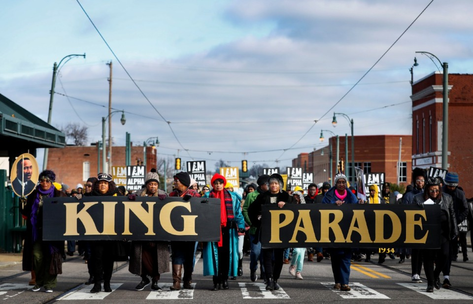 <strong>Hundreds make their way towards the National Civil Rights Museum during the 35th Annual Dr. Martin Luther King Jr., Birthday Parade Monday, Jan. 20, 2020.</strong> (Mark Weber/Daily Memphian)