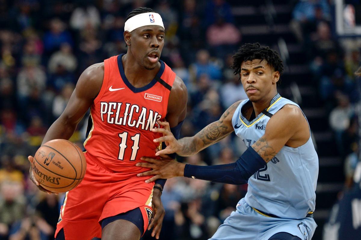 <strong>New Orleans Pelicans guard Jrue Holiday (11) handles the ball against Memphis Grizzlies guard Ja Morant&nbsp;Jan. 20, 2020,&nbsp;at FedExForum.</strong> (Brandon Dill/AP)