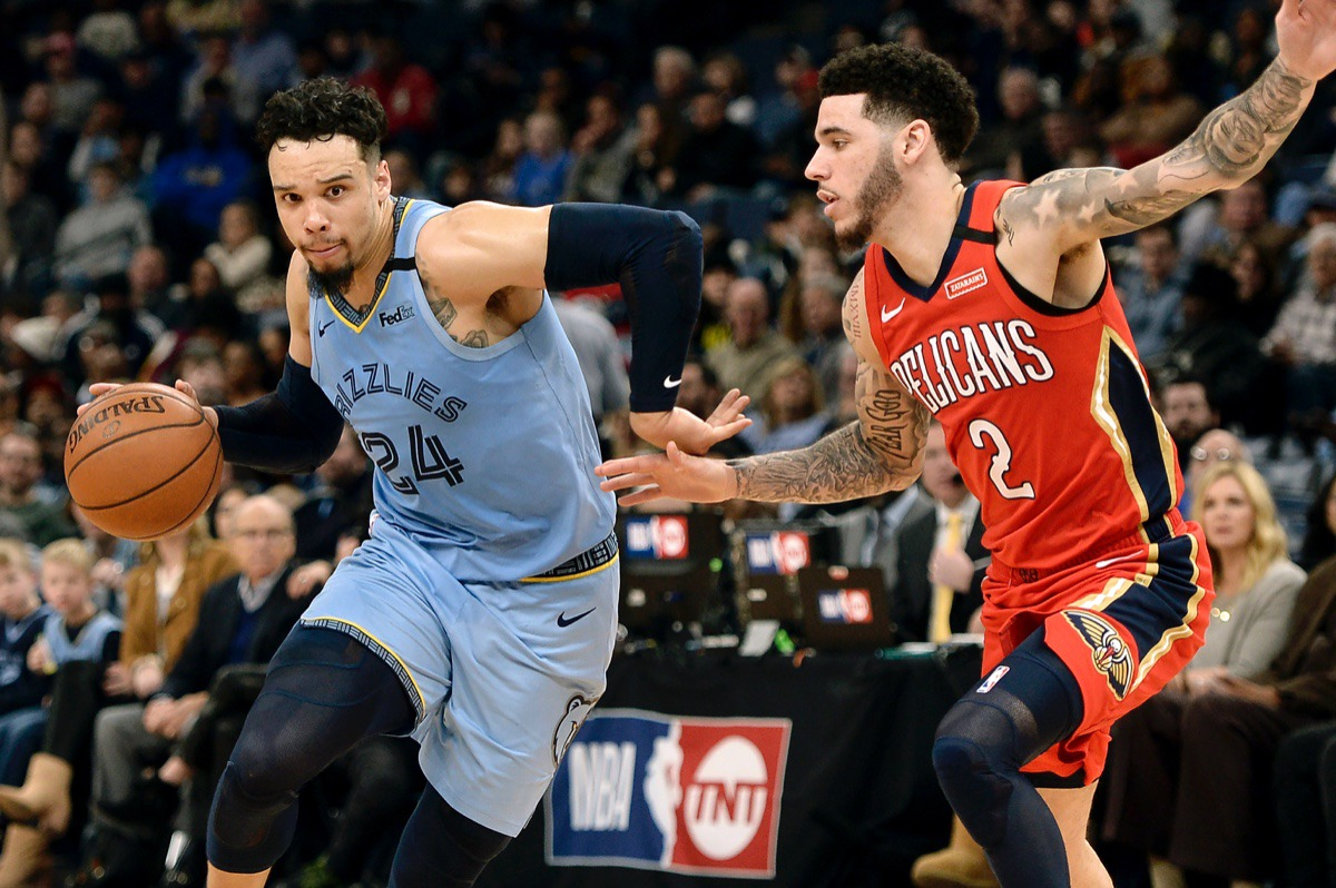 <strong>Memphis Grizzlies guard Dillon Brooks (24) drives against New Orleans Pelicans guard Lonzo Ball (2)&nbsp;Jan. 20, 2020,&nbsp;at FedExForum.</strong> (Brandon Dill/AP)