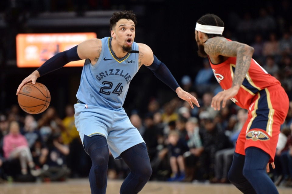 <strong>Memphis Grizzlies guard Dillon Brooks (24) handles the ball against New Orleans Pelicans forward Brandon Ingram&nbsp;Jan. 20, 2020,&nbsp;at FedExForum.</strong> (Brandon Dill/AP)