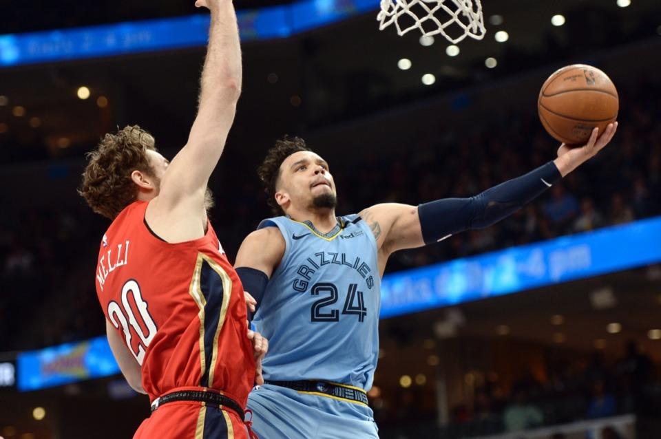 <strong>Memphis Grizzlies guard Dillon Brooks (24) shoots against New Orleans Pelicans forward Nicolo Melli (20)</strong>&nbsp;<strong>Jan. 20, 2020,&nbsp;at FedExForum.</strong> (Brandon Dill/AP)