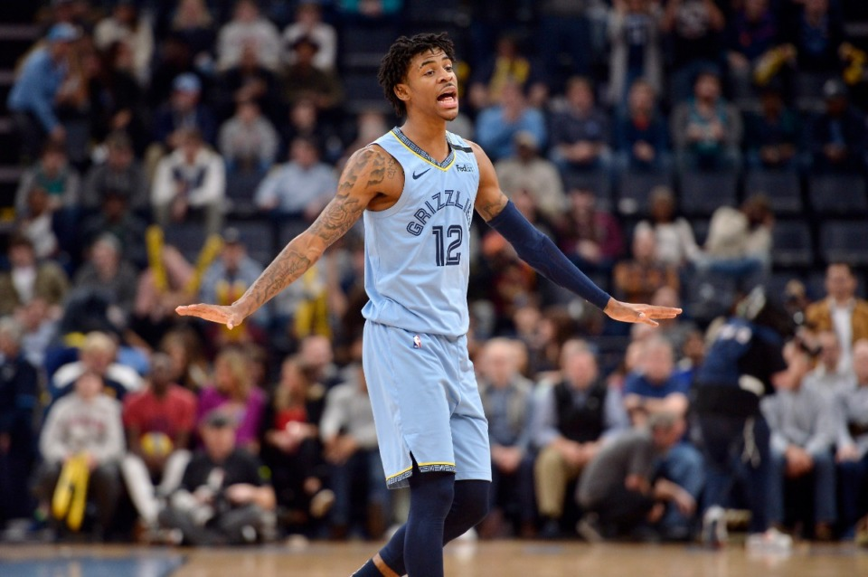 <strong>Memphis Grizzlies guard Ja Morant (12) reacts in the game against Houston Jan. 14, 2020, at FedExForum.</strong> (Brandon Dill/AP)