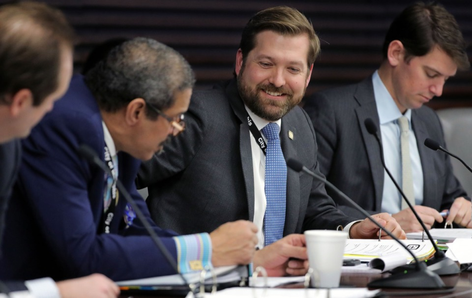 <strong>Memphis City Council member Chase Carlisle talks with fellow member Edmund Ford Sr. during a Jan. 21, 2020, committee meeting.&nbsp;</strong>(Patrick Lantrip/Daily Memphian)