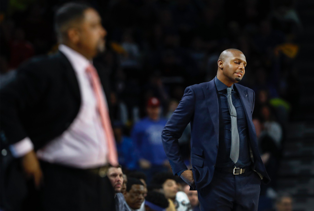 <strong>Memphis head coach Penny Hardaway (right) reacts as the Tigers fall behind Tulsa by 23 points Wednesday, Jan. 22, 2020, in Tulsa, Oklahoma.</strong> (Mark Weber/Daily Memphian)