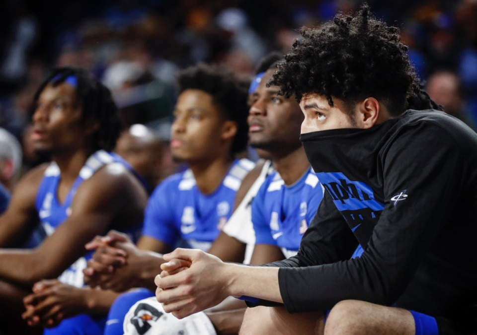 <strong>Memphis forward Isaiah Maurice (right) watches from the bench with his teammates during an 80-40 loss to the Golden Hurricane Wednesday, Jan. 22, 2020, in Tulsa, Oklahoma.</strong> (Mark Weber/Daily Memphian)