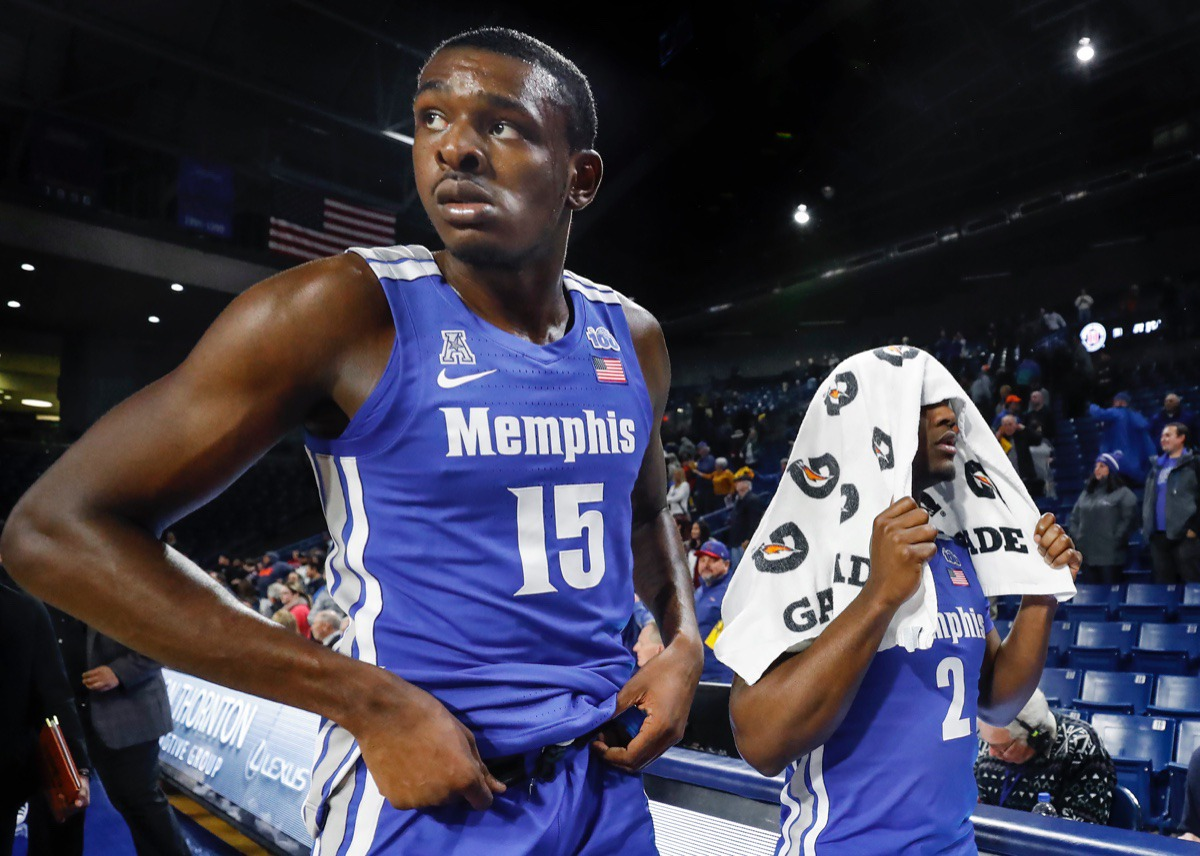 <strong>Memphis teammates Lance Thomas (left) and Alex Lomax (right) walk off after an 80-40 loss to the Golden Hurricane Wednesday, Jan. 22, 2020, in Tulsa, Oklahoma.</strong> (Mark Weber/Daily Memphian)