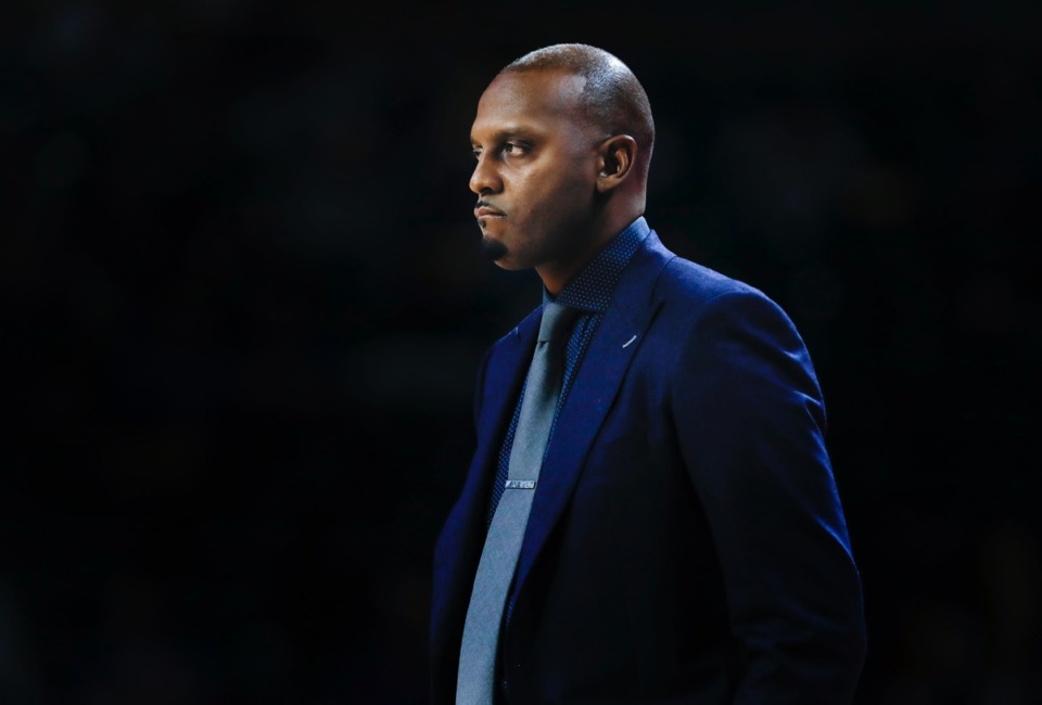 <strong>Memphis head coach Penny Hardaway watched from the sidelines during a 40-point loss to the Golden Hurricane Wednesday, Jan. 22, 2020, in Tulsa, Oklahoma.</strong> (Mark Weber/Daily Memphian)