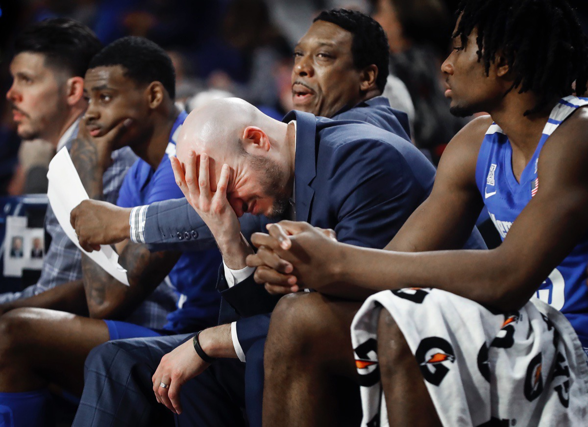 <strong>Memphis assistant coach Cody Toppert (middle) reacts on the bench during the final seconds of an 80-40 loss to the Golden Hurricane Wednesday, Jan. 22, 2020, in Tulsa, Oklahoma.</strong> (Mark Weber/Daily Memphian)