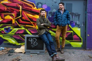 Austin Magruder and John Halford stand in the back alley of 616 Marshall building in the Edge District on Jan. 22, 2020. (Ziggy Mack/Special to The Daily Memphian)