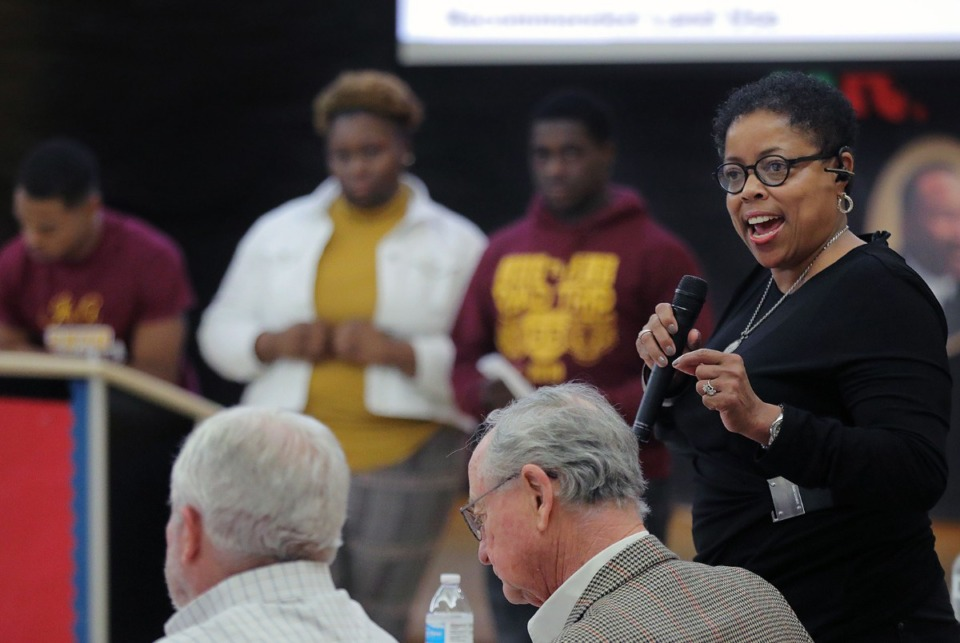 <strong>Memphis City Council member Jamita Swearengen addresses the audience at the Orange Mound Community Center during a Thursday, Jan. 23, meeting of the the Orange Mound Initiative Task Force.</strong> (Patrick Lantrip/Daily Memphian)