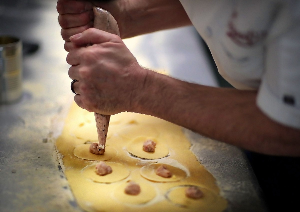 <strong>Chef David Grisanti hand makes tortellini for a daily special during lunch on Jan. 22, 2020, at his Italian restaurant located in the Sheffield Antiques Mall in Collierville.</strong> (Jim Weber/Daily Memphian)