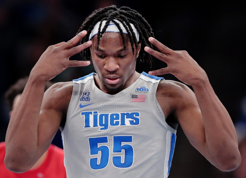 <strong>University of Memphis forward Precious Achiuwa reacts to a successful 3-point shot against the Mustangs during the Tigers' game on Jan. 25, 2020, against SMU at the FedExForum.</strong> (Jim Weber/Daily Memphian)