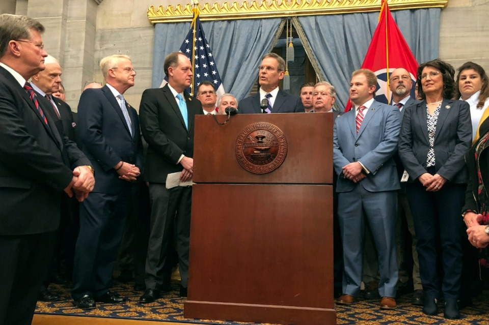 <strong>Tennessee Gov. Bill Lee and fellow Republicans in the state General Assembly hold a news conference at the Tennessee Capitol on Thursday, Jan. 23, 2020, to discuss a new anti-abortion proposal.</strong> (Jonathan Mattise/AP)