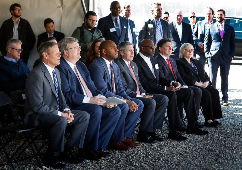 <strong>Local dignitaries along with Amazon officials attend a press conference announcing a new Amazon fulfillment center on Jan. 27, 2020, in the Raleigh-Frayser area.</strong> (Mark Weber/Daily Memphian)