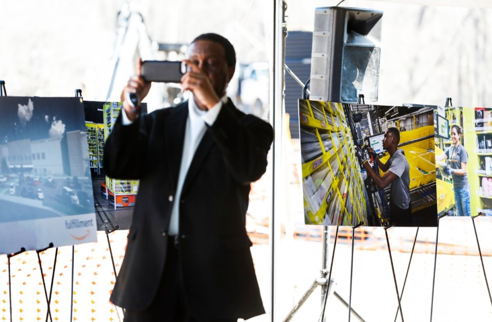 <strong>Amazon held a press conference announcing a new Amazon state-of-the-art fulfillment center on Jan. 27, 2020, in the Raleigh-Frayser area. The facility will house 1,000 full-time employees who will receive industry-leading pay.</strong> (Mark Weber/Daily Memphian)