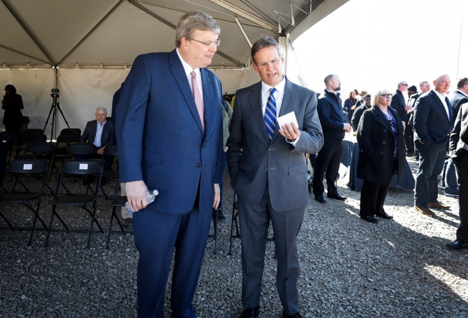 <strong>Memphis Mayor Jim Strickland (left) takes a moment to speak with Tenn. Gov. Bill Lee (right) before a press conference announcing a new Amazon fulfillment center on Jan. 27, 2020, in the Raleigh-Frayser area.</strong> (Mark Weber/Daily Memphian)