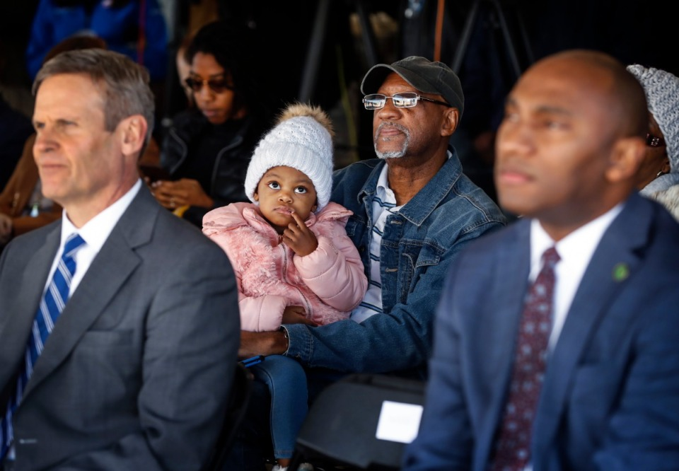 <strong>Lawrence Taliaferro holds his great-granddaughter Skylar Brown, 3, while attending a press conference announcing a new Amazon fulfillment center Monday, Jan. 27, 2020 in the Raleigh-Frayser area.</strong> (Mark Weber/Daily Memphian)