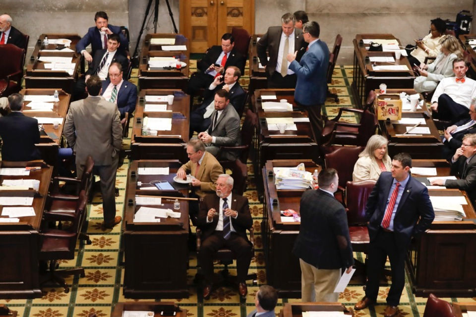 <strong>Members of the House wait for the Senate to finish business so they can continue their session Thursday, May 2, 2019, in Nashville.</strong> (Mark Humphrey/AP)