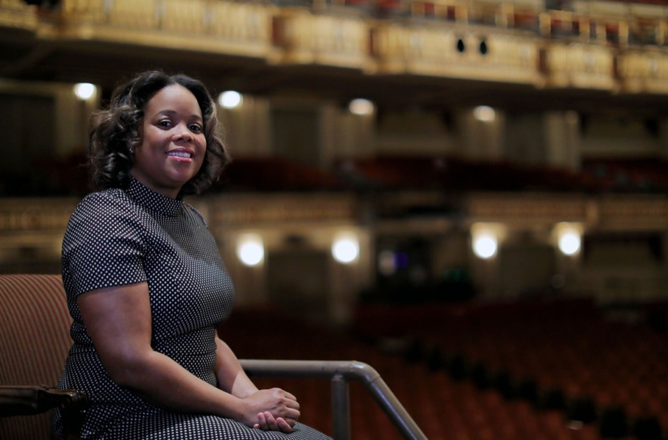 <strong>Dacquiri Baptiste, vice president and chief operating officer of Orpheum Theatre Group, sits in the stately theater Jan. 28, 2020. Before joining the Orpheum, Baptiste worked with the Alvin Ailey dance company, which will be at the Orpheum in February.</strong> (Patrick Lantrip/Daily Memphian)