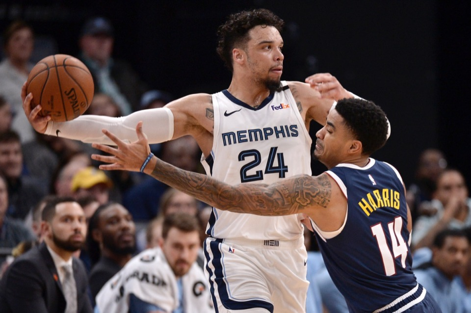 <strong>Memphis Grizzlies guard Dillon Brooks (24) controls the ball against Denver Nuggets guard Gary Harris (14)&nbsp;Jan. 28, 2020,</strong>&nbsp;<strong>at FedExForum.</strong> (Brandon Dill/AP)