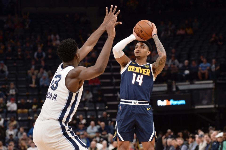 <strong>Denver Nuggets guard Gary Harris (14) shoots against Memphis Grizzlies forward Jaren Jackson Jr. (13)&nbsp;Jan. 28, 2020,</strong>&nbsp;<strong>at FedExForum.</strong> (Brandon Dill/AP)