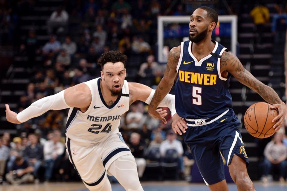 <strong>Denver Nuggets forward Will Barton (5) handles the ball against Memphis Grizzlies guard Dillon Brooks (24)&nbsp;Jan. 28, 2020,</strong>&nbsp;<strong>at FedExForum.</strong> (Brandon Dill/AP)