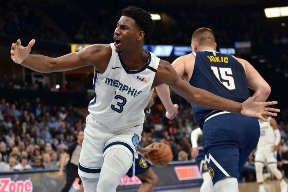 <strong>Memphis Grizzlies forward Jaren Jackson Jr. (13) reacts in the second half of an NBA basketball game against the Denver Nuggets Jan. 28, 2020, at FedExForum.</strong> (Brandon Dill/AP)