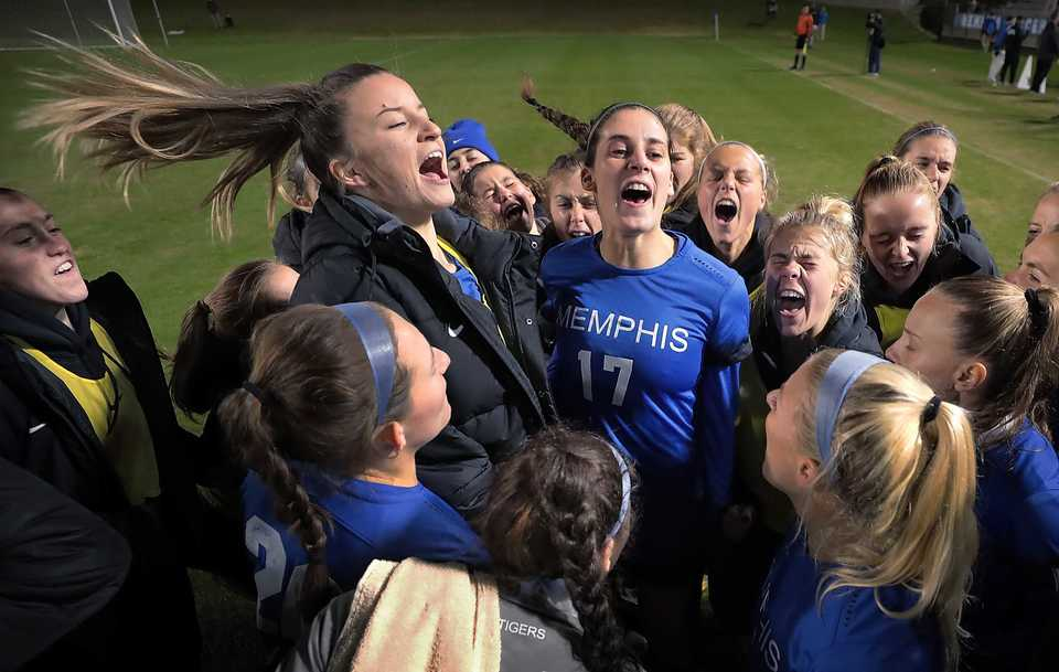 <strong>University of Memphis players get psyched up before the start of the Tiger's game against Wisconsin in the first round of the NCAA Women's Soccer tournament at the Mike Rose Soccer Complex on Nov 9, 2018.</strong> (Jim Weber/Daily Memphian)