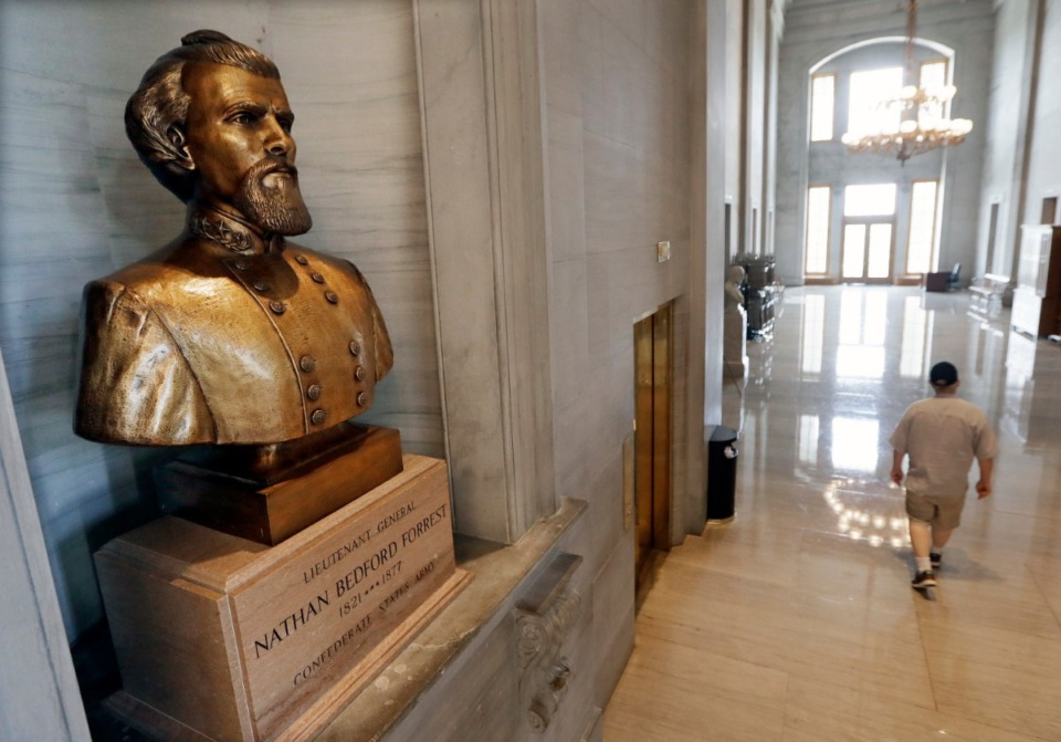 <strong>Removing the Nathan Bedford Forrest bust from the State Capitol, where was put in the late 1970s, is proving difficult as people continue to defend the Forrest name.</strong> (Mark Humphrey/AP)