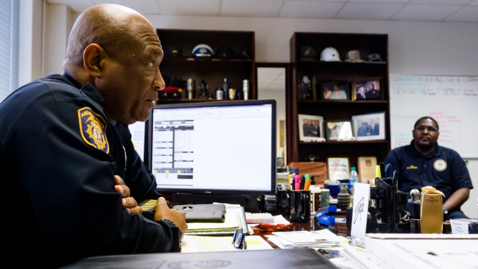 <strong>Memphis Police Deputy Chief Sam Hines and Officer Louis Brownlee discuss MPD's second initiative of Operation Safe Travel and the results of its first day in Downtown Memphis on Jan. 29, 2020.</strong> (Ziggy Mack/Special to The Daily Memphian)