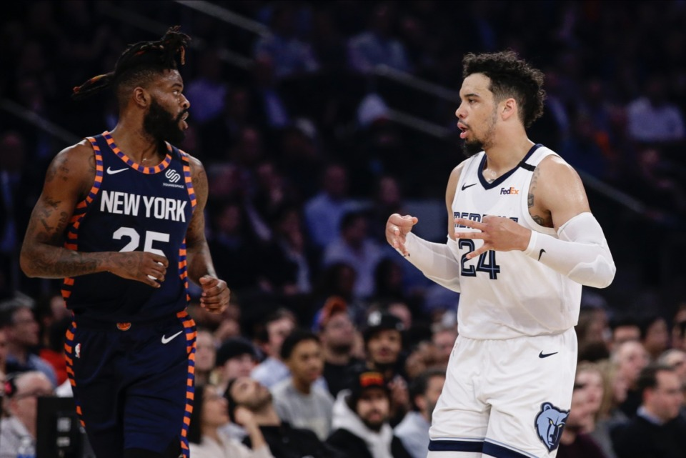 <strong>Memphis Grizzlies' Dillon Brooks (24) celebrates after making a 3-point basket in front of New York Knicks' Reggie Bullock (25) Jan. 29, 2020, in New York.</strong> (Frank Franklin II/AP)