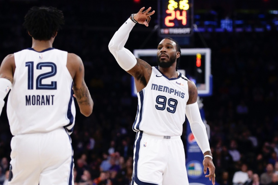 <strong>Memphis Grizzlies' Jae Crowder (99) waves to the crowd after making a 3-point basket against the New York Knicks on Wednesday, Jan. 29, 2020, in New York. The Grizzlies won 127-106.</strong> (Frank Franklin II/AP)