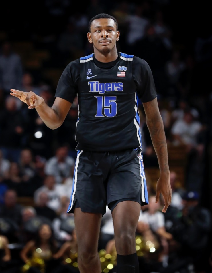 <strong>Memphis forward Lance Thomas celebrates a 3-point basket late in the game against UCF on Wednesday, Jan. 29, 2020, in Orlando.</strong> (Mark Weber/Daily Memphian)