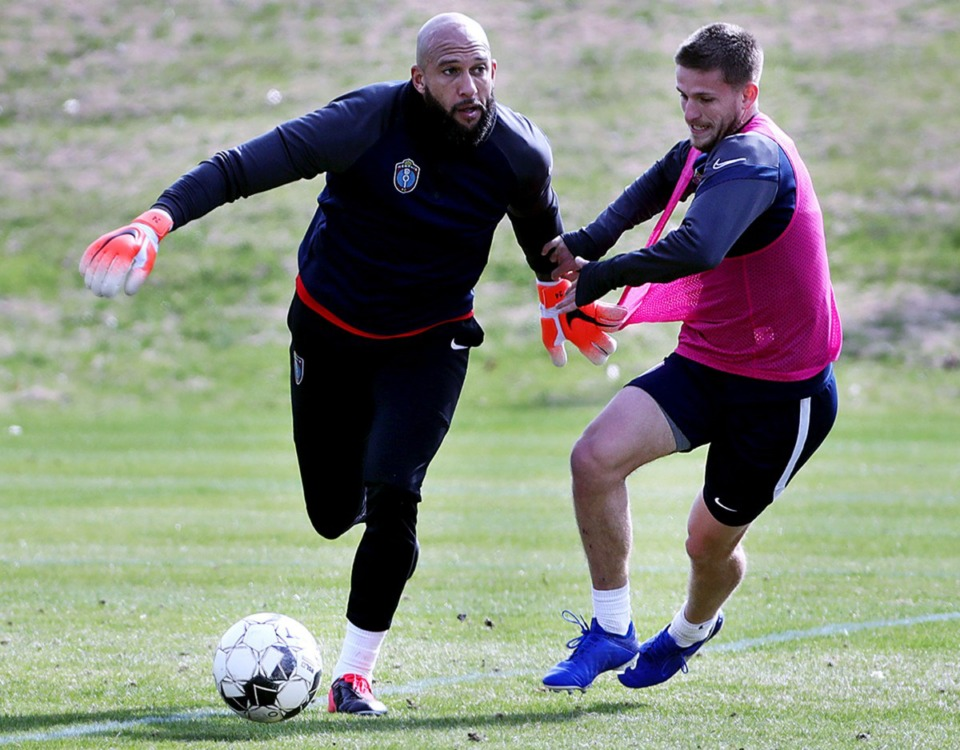 <strong>Memphis 901 FC's Tim Howard (left) proves he is not like your typical general manager by playing goalie during his club's Jan. 29, 2020 practice at Mike Rose Soccer Complex.</strong> Patrick Lantrip/Daily Memphian)