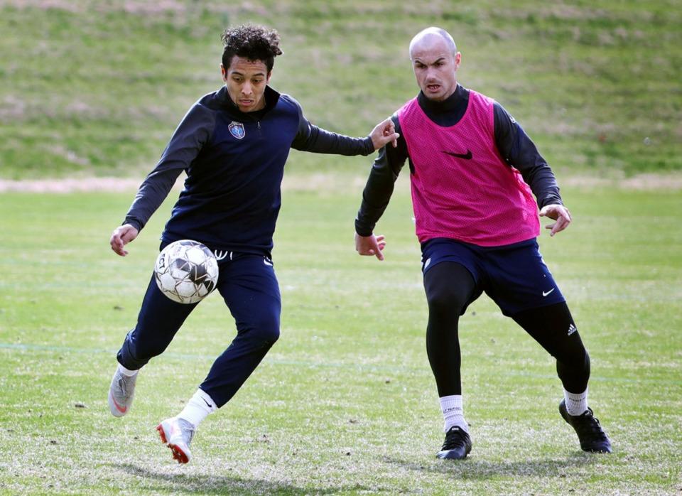<strong>Memphis 901 FC&iacute;s prized midfielder Raul Gonzalez (left) tries to dribble around a teammate during a Jan. 29, 2020 practice at Mike Rose Soccer Complex. Gonzalez is hoping to bounce back after missing last season with a knee injury.</strong> (Patrick Lantrip/Daily Memphian)