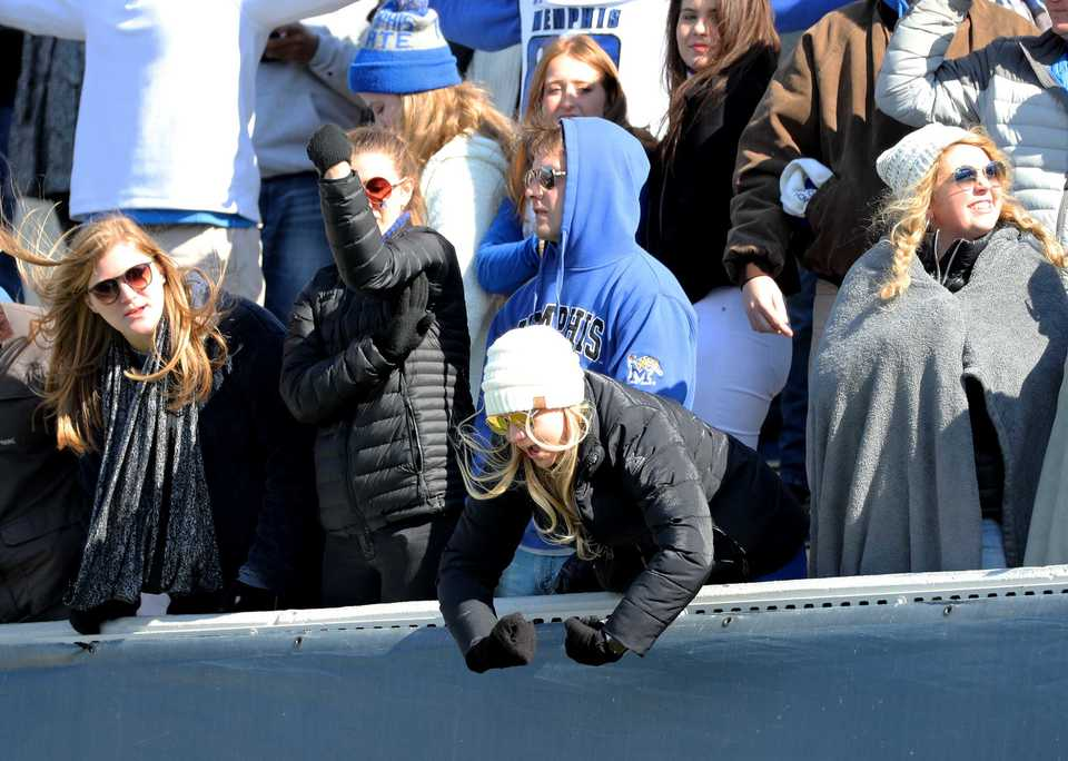 <strong>Memphis Tigers fans celebrate a Tigers touchdown in a game against Tulsa on Saturday, Nov. 10, 2018.&nbsp;</strong> (Houston Cofield/Daily Memphian)