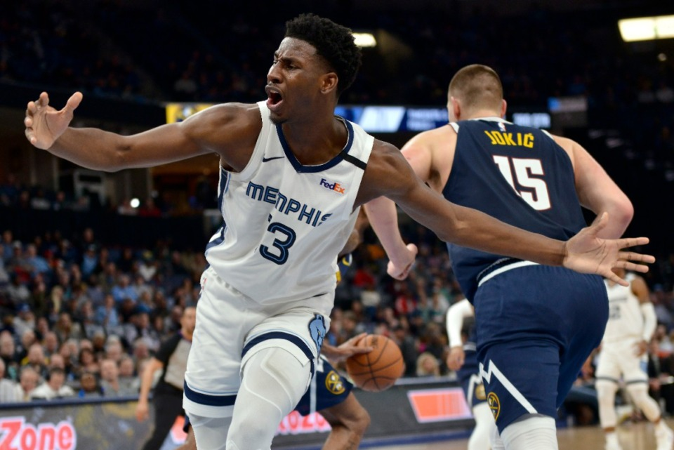 <strong>Memphis Grizzlies forward Jaren Jackson Jr. (13) reacts in the second half of an NBA basketball game against the Denver Nuggets Tuesday, Jan. 28, 2020.</strong>&nbsp;(AP Photo/Brandon Dill)