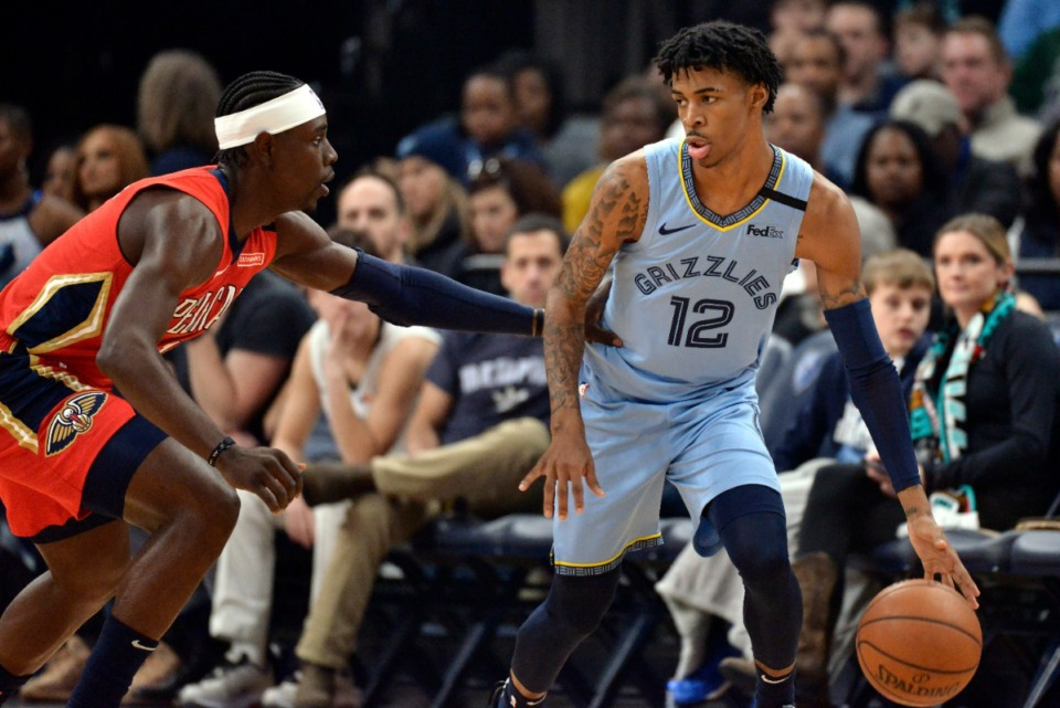 <strong>Memphis Grizzlies guard Ja Morant (12) handles the ball against New Orleans Pelicans guard Jrue Holiday in the first half of an NBA basketball game Monday, Jan. 20, 2020, in Memphis, Tenn.</strong> (AP Photo/Brandon Dill)