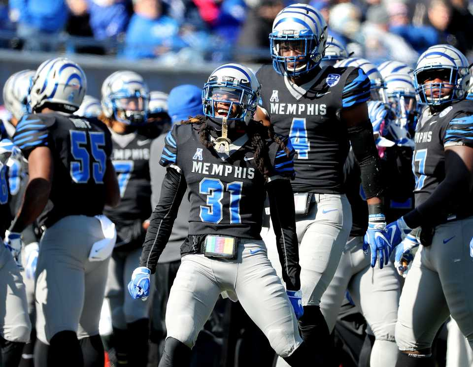 <strong>Memphis Tigers defensive back Chris Claybrooks (31) celebrates after the Tigers score a touchdown against Tulsa on Saturday, Nov. 10, 2018.&nbsp;</strong> (Houston Cofield/Daily Memphian)
