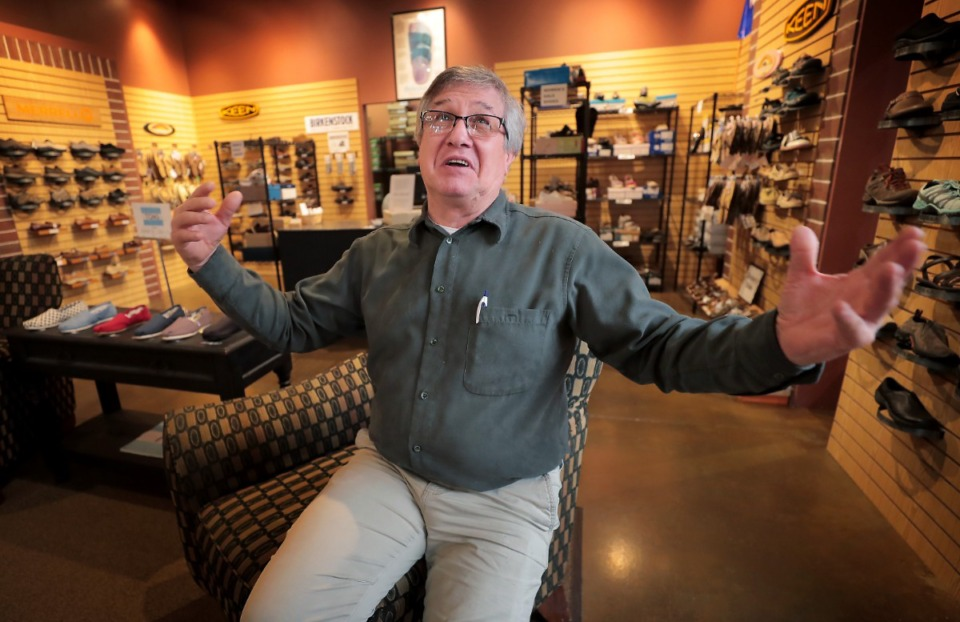 <strong>During an interview at his store on Jan. 31, 2020, Robert Baumer, owner/operator of Baumer's Footware in East Memphis, talks about the negative effect that online sales has had on his business in the last five years as retail giants like Amazon take over the marketplace.</strong> (Jim Weber/Daily Memphian)
