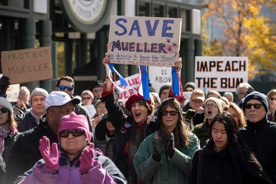 <strong>Protestors demonstrate during a rally in support of Special Counsel Robert Mueller at Civic Center Plaza on Nov. 10, 2018, in Memphis.</strong> (Brandon Dill/Special to The Daily Memphian)