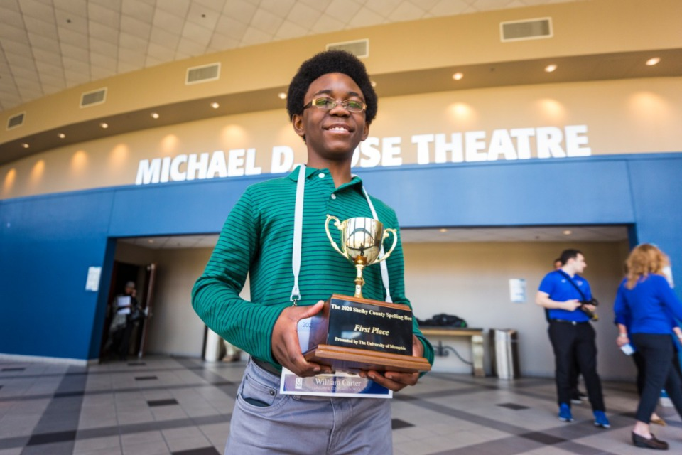 <strong>William Carter took first place in the 2020 Shelby County Spelling Bee on Feb. 1, 2020, at the University of Memphis campus.</strong> (Ziggy Mack/Special to The Daily Memphian)