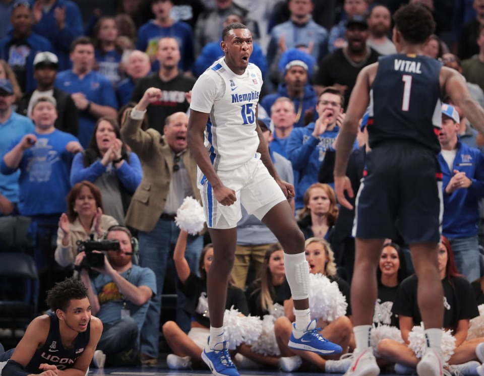 <strong>University of Memphis forward Lance Thomas (15) celebrates after blocking a shot attempt by the Huskies' Christian Vital (1) during the Tigers' game on Feb. 1, 2020, against Connecticut at FedExForum in Memphis.</strong> (Jim Weber/Daily Memphian)